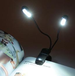 Wholesale Double Book Light - 8 LED Book Reading Table Lamp Super Bright Dual Flexible Double Goosenecks Clip-on Arm Study&Music Desk Light