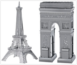 Wholesale Triumph Models - DIY Metal Works Model Kits 3d Laser Cut Jigsaw Puzzle Toy Landmark Series France Eiffel Tower and Arch of Triumph