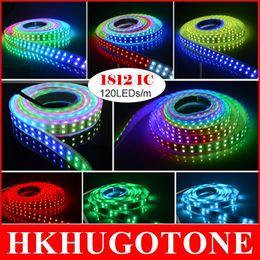 Wholesale Ic Ribbon - 5M 600Leds RGB led lights 5050 SMD IP67 WS1812 IC Tube Waterproof DC12V Led Tape String Ribbon More beautiful than WS2811 christmas lights