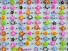 Wholesale Kid Rings Adjustable - 100pcs lot Ring kid jewelry Wholesale lots Mixed Colors Cute Flower Adjustable Girl's Kid's Rings R2