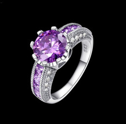 Wholesale Zirconia Solitaire Rings - 925 sterling silver wedding rings with AAA zircon Purple 7 # 8 # 9 # 2016 new luxury fashion jewelry design Top quality free shipping
