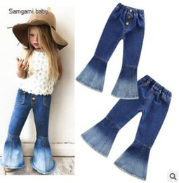 Wholesale Winter Autumn Outfits - Girls Jeans Girls Bell-bottomed Pants Spring Children Trousers Outfits Baby Costume Fashion Kids Vintage Jeans Fashion Overalls