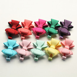 Wholesale Good Quality Hair Accessories - New Novelty Good Quality Fashion Hairpin Chamois Leather Bow Hair Clip For Girls Children Bowknot Hair Accessory Kids Jewelry 20pcs  Lot
