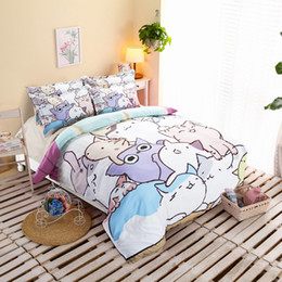 Wholesale Sheets Cats - Cartoon Cats 3 or 4 Pieces Bedding Sets Star Giraffe Bed Fitted Flat Sheet Set Duvet Cover 3D Printing Beddings set Queen Size