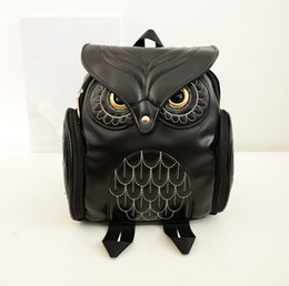 Wholesale Small Animals Backpack - Retail Fashion Owl Backpack PU Leather Women Backpacks Travel Bags Girl Cartoon Shoulder School Bag Backpack Preppy Promotion 4 Colors