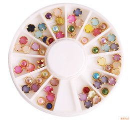 Wholesale Pearl Nail Stickers - Nail Art Rhinestones Pro 4mm Colorful Mixed Alloy Nail Art Artificial Pearl Decorations Sticker + Wheel Box Nail Art Salon Tools Nail DIY
