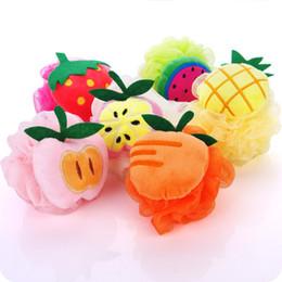 Скраб для фруктов онлайн-Новая мода Fruit Shape Bath Ball Ванна Ванна Губка Rubbing Полотенце Lovely Моделирование Очищающий крем Скраб Душ Ванна Кисть