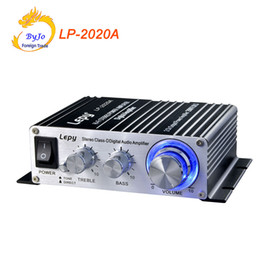 Wholesale Mini Digital Amplifier - Lepy LP-2020A HiFi Digital Mini Audio Stereo Amplifiers 20Wx2 With Infrared Remote Control Home Car Amplifier+ Power Adapter