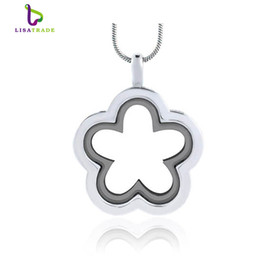 Wholesale China Float - 5PCS !! Silver Flower glass floating charm locket Zinc Alloy 26.5x33mm(chains included for free) LSFL010-1-3*5