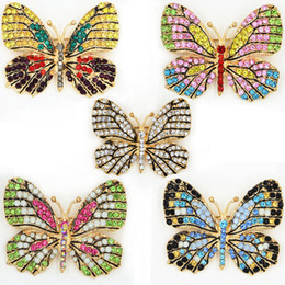 Wholesale Pins Wholesale - OneckOha Fashion Jewelry Colorful Rhinestone Butterfly Brooches Alloy Enameled Animal Brooch Pin Apparel Accessories