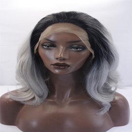 Wholesale Gray African American Wigs - kabell Fashion wig lace front wigs Black root gray hair with two shades of wavy hair Big wave hairstyle wigs African American fashion wig