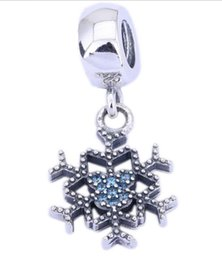 Wholesale Snowflakes Beads - 100% Sterling Silver Charms 925 Ale Dangled Winter Rhinestone Snowflake Charms for Pandora Bracelets DIY Beads Accessories Free Shipping