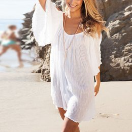 mini abito bianco allentato Sconti Boho Women Cut Off Shoulder Dress Top Camicetta Allentata Bianco Summer Beach Bikini Cover Abiti LY2 FG1511