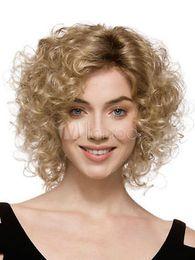 Wholesale Medium Curl Wigs - Blonde Full-Volume Curls Heat-resistant Fiber Medium Wig for Woman 06