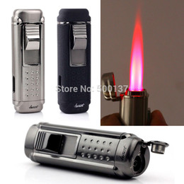 Wholesale Punching Punch - HONEST Fast Shipping W  Cigar Punch Gadget Cigar Lighter Quadruple Hot Pink Jet Flame Windproof Cigarette Lighter LD-1