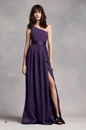 Wholesale Silk One Shoulder Long Dress - Vintage 2016 Designer Occasion A-Line One Shoulder Dress with Satin Sash floor length with side slit detail VW360215 Bridesmaid Dresses