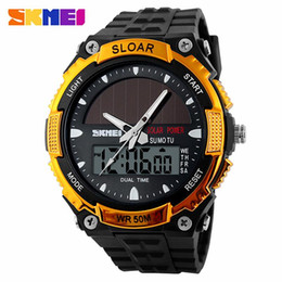 Wholesale Reloj Sport Led - Now Watches Men Skmei 1049 Luxury brand quartz Watch LED Digital reloj hombre Army Military Sport wristwatch Solar Power clock