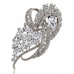 Wholesale Silver Jewerly China - 3.8 inch huge brooch large crystals luxury wedding bridal jewerly brooch hot selling noble party costume women brooch pins top quality