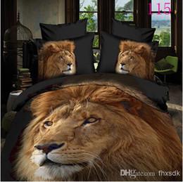 Wholesale Lion Quilt Cover Set - 3D 4pcs bedding set lions Full Queen Polyester Home Textile Bed Flat sheets quilt cover duvet cover pillowcase set bedroom bedclothes sets