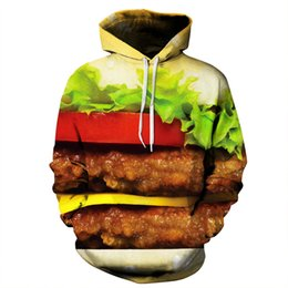 Wholesale Food Hoodie - Alisister New funny Hamburger Hoodie women men printed 3d Sweatshirt harajuku Long-sleeved shirts unisex food hoodies tops