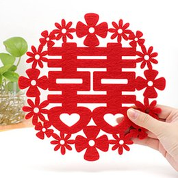 Wholesale Ordering Bamboo Cotton Wholesale - Free ship!20pc!Creative household product   Wedding Double Happiness insulation pad bowl pad   plate mat order<$15 no tracking