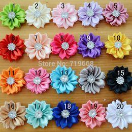 Wholesale Stock Flowers For Headbands - 2015 New Arrival in Stock!!! 40pcs lot 20colors handmade satin ribbon flower for baby girl children kids headband hair ornaments