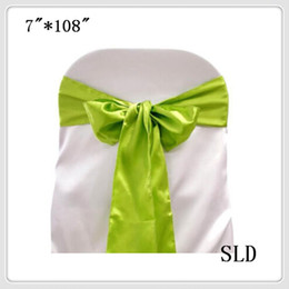 Wholesale Apple Chair Sashes - Wholesale-100pcs apple green satin chair bows  sash for wedding party banquet  event supplies free shipping