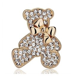 Wholesale High Quality Wedding Gift - High Quality Bear Brooch Factory Direct Wedding Bridal Brooch Pin Exquisite Shinning Rhinestone Animal Teddy Bear Bowtie Brooch SH020