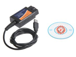 Wholesale Elm Obd Cable - 2014 hot-sales OBD OBDII scanner ELM 327 car diagnostic interface scan tool ELM327 USB diagnostic cable free shipping