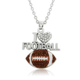 Wholesale Pendant I Letter - I love Football Crystal Heart Enamel Pendant Necklace Sports Fans Jewelry Teen girls & Women Gift Free Ship