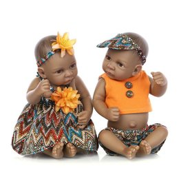 Wholesale Kids Silicone Doll Mini - 10 inch African American Baby Doll Black Boy Girl doll Full Silicone Body Bebe Reborn Baby Dolls children gifts kids toys play house toys