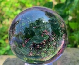 Wholesale natural crystal ball stands - Asian Rare Natural Quartz Purple Magic Crystal Healing Ball Sphere 40mm + Stand
