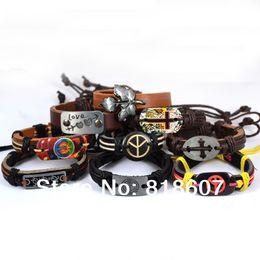 Wholesale Men Peace New Bracelets - Wholesale-2015 New 50PCS Peace Butterfly Skull Cross Mix Genuine Leather Bracelet Random Color And Model Bracelet Men