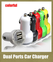 Wholesale Cellphone Lighter - 2 ports usb charger car charger dual interface colorful 2.1A Bullet auto power adapter plug in lighter jack for universal cellphone CAB015