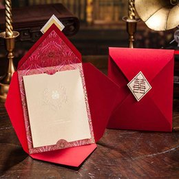 Wholesale Free Printable Wedding Envelopes - Wholesale- 50Pcs Free Shipping Marriage Wedding Card Customized Printable Red Wedding Invitation China Envelope Engagement Invitation Card
