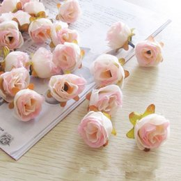 Wholesale Craft Wreaths Wholesale - 100pcs Artificial Mini 3cm Rose Head Buds Hair Garland Wreath DIY Craft Wedding Decoration Scrapbooking Artificial Flowers Heads