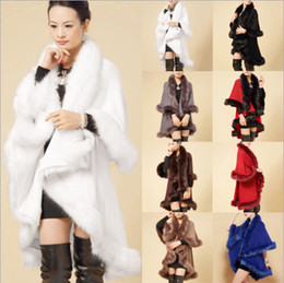 Wholesale Long Poncho Fur - 2015 Winter Ladies Coats Long Poncho Faux Fur Big Yards Knitting Wool Cashmere Cardigan Shawls Cloak Female Faux Fox Fur Coats for Women