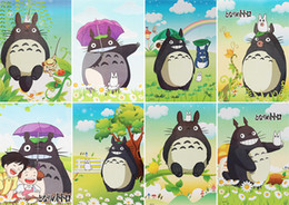 Wholesale Totoro Paper - Cartoon Anime My Neighbor Totoro Posters Paper Poster Wall Sticker Room Decoration 42X29cm 8Pcs set High Quality Free Shipping