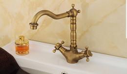 Wholesale Bathroom Faucets Antique Bronze Finish - Free shipping Antique Bronze Finish 360 Degree Swivel Brass Faucet Bathroom Basin Sink Mixer Bath& kitchen taps Faucet
