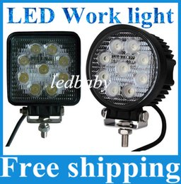 Wholesale Bar Light Camping - Square Round 27W Flood Spot Beam LED Work Light Truck Boat Camping DC12V 24V Working Light Off Road Bar Round Driving Working Lamp