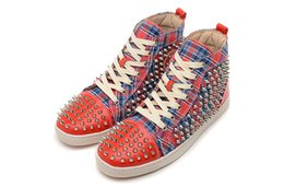 Wholesale Nails Stripe - Luxury Brand Red Bottom Sneakers orange Suede with Spikes Casual Mens Womens Shoes Plaid stripe Silver nails Trainers Footwear Flat Shoes