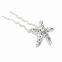 Wholesale Round White Coral - Bridal Wedding Hair Pins and Clips Rhinstone U Style Stick Women Hairpiece Starfish Hair Accessories Jewelry Prom Fashion Long Hair Decerate