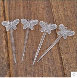 Wholesale Cocktail Forks Disposable - Transparent PP plastic health one-time cocktail salad butterfly fruit fork 400 pcs lot free shipping