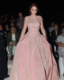 Wholesale Taffeta Pearl Pink - Luxury Arabic Dresses Dubai Fashion Blush Pink Evening Gowns With Sheer Cap Sleeves Pearls Beaded Ruffles Celebrity Red Carpet Runway Dress