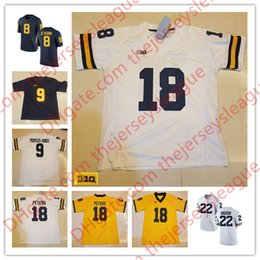 Wholesale People Football - NCAA 2017 Michigan Wolverines #8 John O'Korn 9 Donovan Peoples-Jones 18 Brandon Peters White Yellow Stitched College Football Jersey S-3XL