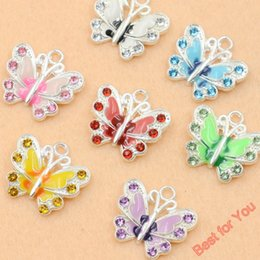 Wholesale Crystal Butterfly Charms - 50pcs Mixed Silver Plated Enamel Crystal Butterfly Charms Pendants Jewelry Making DIY Findings Accessories Craft 7styles