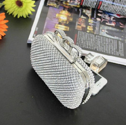 Wholesale Silver Wristlet Purse - Fashion Designer Silver Gold Wedding Bridal Hand Bags Ladies Handbags Crystal Rhinestone Ring Stain Metal Evening Clutch Bag Hard Box Purse