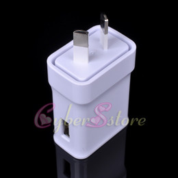 Wholesale New Zealand Charger - AU Plug USB Ports White Wall Power Charger AC Travel Australia New Zealand Adapter For Samsung Galaxy S8 Mobile Phone iphone Tab ipad