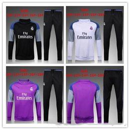 Wholesale Black Children Tracksuits - 2016 2017 Kids Long Sleeve Real Madrid Tracksuit Jogging Boys Soccer kit Football Suits Youth Sport Wear Children Ronaldo training tracksuit