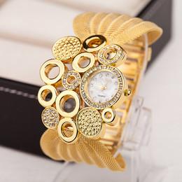 Wholesale Net Dress Top - 2016 TOP Watch Women Top Luxury Ladies Dress Gold Net Bracelet Crystal Rhinestone Watches Quartz Women's Wristwatches